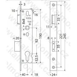 Čtyřhran pro dveřní kování 8 x 8 mm, délka 114 mm