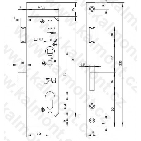 Bezpečnostní vložka Euro Secure BT3 ES 30+35 NI, 6klíčů