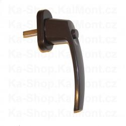 Okenní a balkónová kovová rustikální klika, čtyřhran 7/30mm*